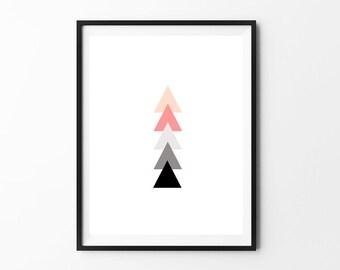Nursery Wall Art Print // Modern Nursery Decor // Hamptons Triangles // Coral Gray Black
