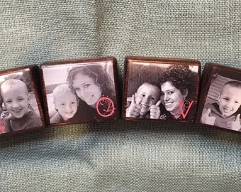 Set of 4 Personalized Photo Blocks, Custom Photo Blocks