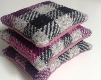 Harris tweed lavender sachets set of 3