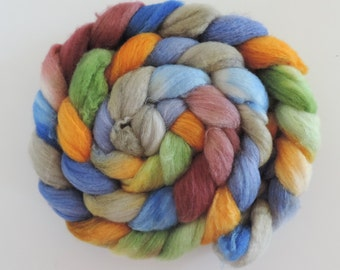 Polwarth-Silk,Trollking, top,handpainted dyed, roving for spinning and felting, ca4,2oz
