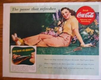 H1 Retro 1940s Coca Cola ad vintage Pontiac car ad iconic Coke gardener gift resturaunt decor car store decor coke is it Coca Cola girl