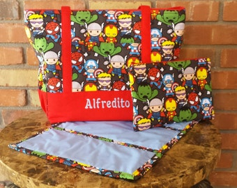Marvel Avengers Kawaii Personalized Diaper Bag With Matching Clutch and Changing Pad