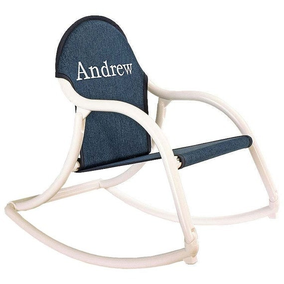 Personalized childrens rocking chair in denim fabric that folds and is ...