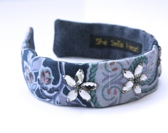 Floral headband. Floral fabric headband. Embellished headband. Retro print headband. Jewelled headband. Boho headband. Wide fabric headband.