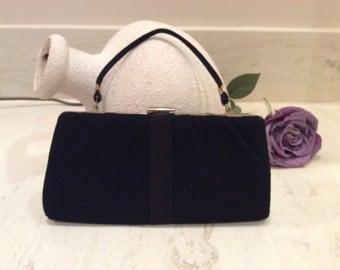 Vintage Black Cloth Clutch/ Handle Bag Purse, Vintage Handbag, Vintage Evening Bag, Vintage Summer Purse  MRL