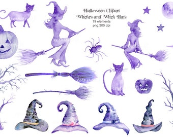 Witch Clip Art Halloween witches, witch hats, black cats, pumpkins, spider for instant download, halloween clipart