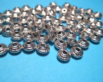 50pcs Antique Silver Spacer Metal beads 5x3mm
