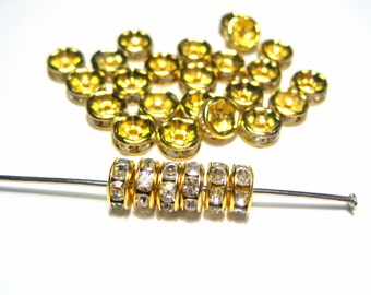 20pcs Clear Rhinestone Spacer Beads Gold Tone 6mm Rondelles A Grade
