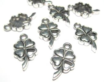 10pcs Antique Silver 4 Leaf Clover Charms Pendants Metal Charms Pendant