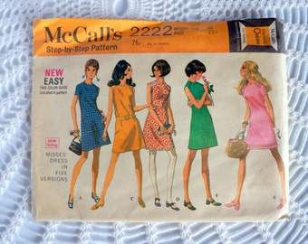 Vintage 1960's McCall's 2222 Sewing Pattern Simple A-Line Dress Size 10