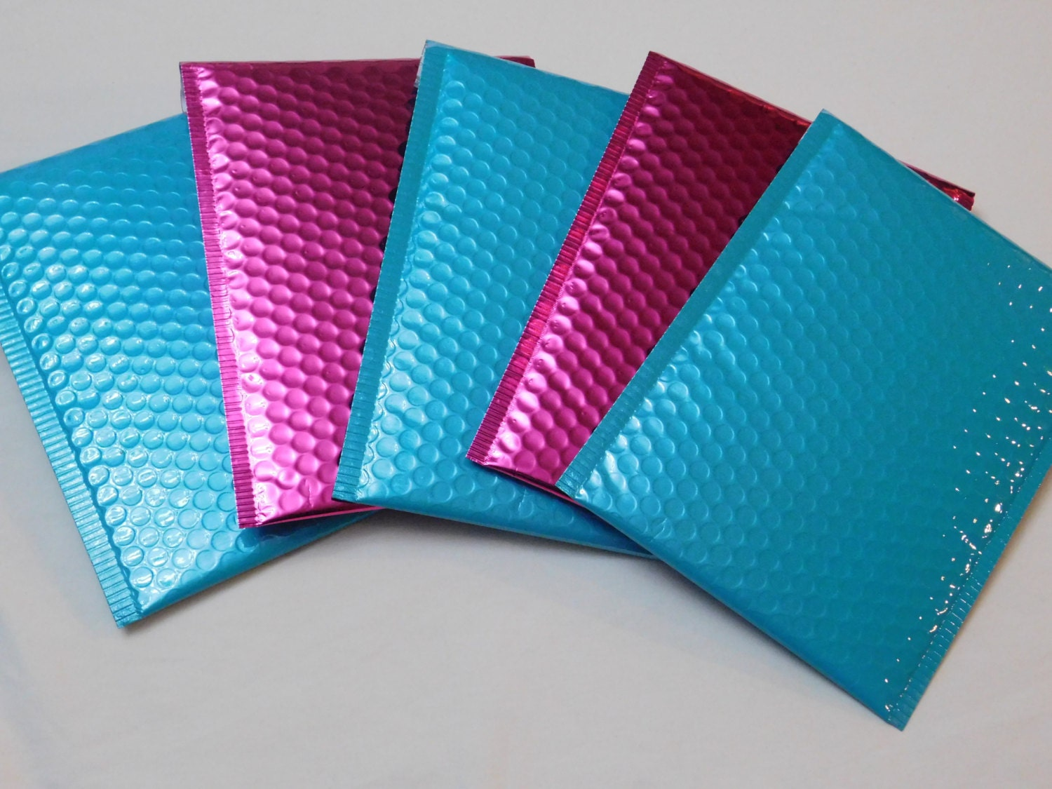 bubble mailer 10 teal and hot pink metallic 6x9 self seal