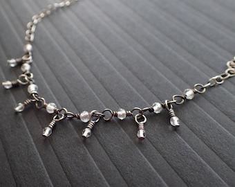 Oxidized Silver Necklace, Sterling Silver Necklace, White Topaz Necklace, Rock Crystal Necklace, Boho Necklace, Raindrop, Delicate, Choker