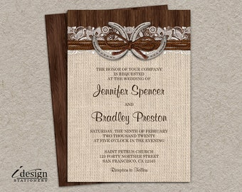 Rustic Country Western Horseshoe Wedding Invitation With Burlap And Lace On Brown Barn Wood | DIY Printable Cowboy Themed invite