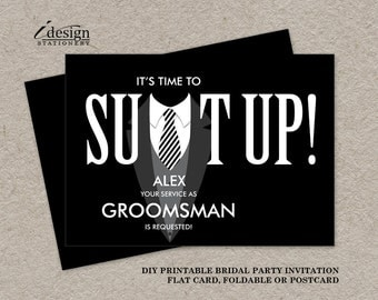Will you be my groomsman etsy printable groomsman proposal card suit up black tuxedo bridal party request cards will you junglespirit Image collections