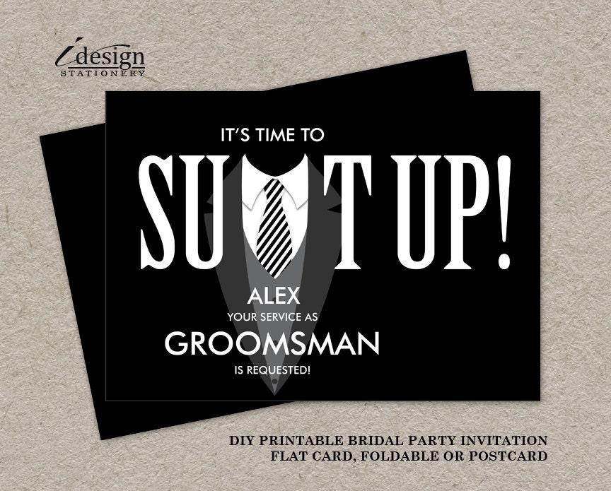 printable groomsman proposal card suit up black tuxedo. Black Bedroom Furniture Sets. Home Design Ideas