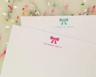Bow Stationary - Girls Personalized Stationery Set of 20 Flat Girly Note Cards