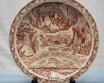 Vintage State Collectors Plate - Carlsbad Caverns, NM - 10 5/8 Inch