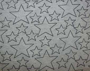 Fabric - cotton sweatshirt jersey fabric - grey marl star print