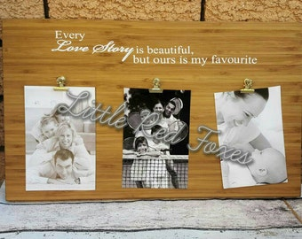Bamboo photo boards with quote. Photo display board. Photo framem personalised photo board