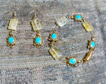 Handmade 7 1/2 Inch Ice Quartz Turtle Bracelet and 2 Inch Earrings Set