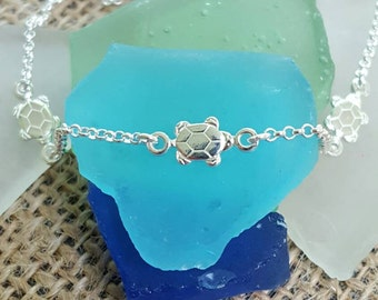 Turtle Anklet - 925 Sterling Silver