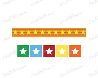 Digital Download Clipart – Circus Colorful Stars JPEG and PNG files