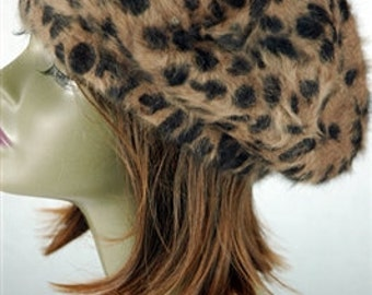 Animal Printed Angora Brown Beret, Slouchy Wool Beanie Fur Hat for Women and Girls, Bohemian Cap, Fashion Warm Winter Beanie