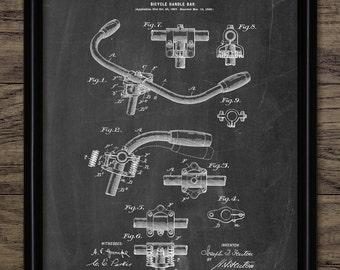Bicycle Handlebar Patent Print - 1899 Bicycle Handlebar Design - Vintage Bicycle Equipment - Single Print #1510 -INSTANT DOWNLOAD
