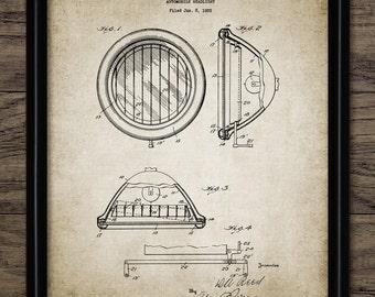 Vintage Car Headlight Patent Print - 1929 Automobile Headlight Design - Garage Mechanic Gift Idea - Single Print #1917 - INSTANT DOWNLOAD