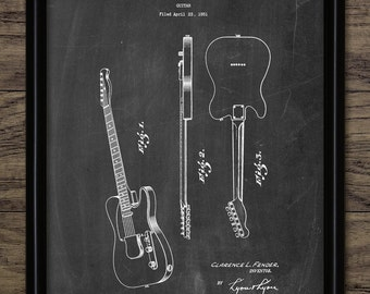 Electric Guitar Patent Print - 1951 Electric Guitar Design - Musician - Musical Instrument - Single Print #860 - INSTANT DOWNLOAD