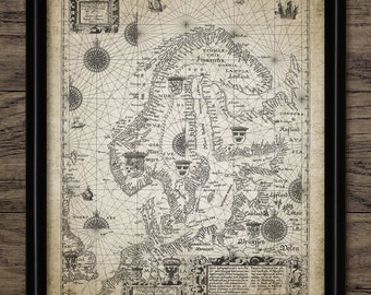 Vintage Map Of Norway And Sweden Print - Map Of Scandinavia - Northern Europe - Printable Art - Single Print #783 - INSTANT DOWNLOAD