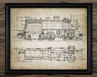 Steam Locomotive Print - Steam Train - Railroad - Vintage Railway Illustration - Printable Art - Single Print #940 - INSTANT DOWNLOAD
