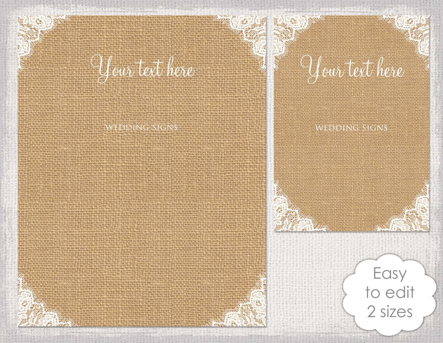 rustic wedding signs printable template diy burlap. Black Bedroom Furniture Sets. Home Design Ideas