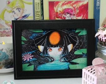 """4x6 """"Koimaid"""" Koi Fish Mermaid Original Anime Illustration Art Print"""