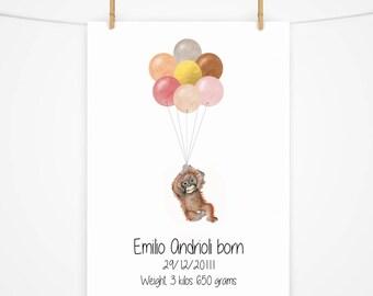 Gorgeous Monkey, floating with balloons. Christening gift. New baby gift Nursery art illustration