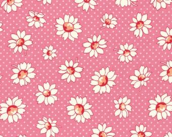 Daisies - Dark Bubble Gum (31281-20) by Lecien Cotton Fabric Yardage Floursack Retro Fabric
