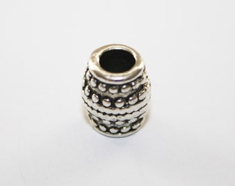 Spacers, Antique Pewter Silver Bead Spacer, Tube Spacer, Large Hole - 10x8mm - 20ct - #415