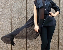 ON SALE 25% OFF Black Cotton Chiffon Tunic Shirt with Strapless Top / Loose Asymmetrical Shirt Tt45