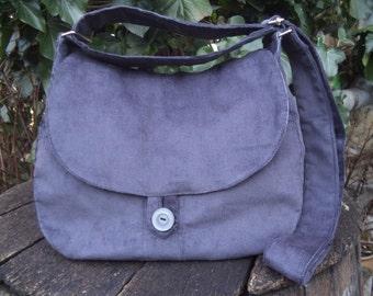 Gray corduroy shoulder bag,buttoned bag