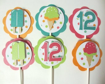 Ice Cream Popsicle Birthday Party Shower Cupcake Toppers Set of 12 Sweet Treats Shop Pink Orange Green Blue Teal