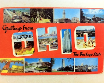 Vintage OH Postcard Ohio Buckeye State Greetings from Ohio 1964