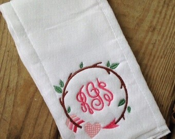 Personalized girl's burp cloth