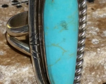 Sterling Silver Turquoise Long Ring Signed GD Size 6.5