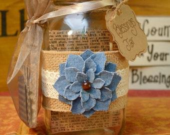 Gratitude Jar Thankful Burlap Lace Jean Floral Blessings Jar