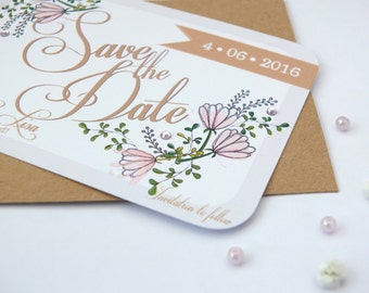 Pink & Gold Save the Date Sample