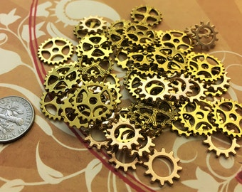 80 New Small Gold Steampunk Gears Cogs Sprocket Buttons Wheels Watch Parts Altered Art Color Charms Jewelry Gothic Supplies Crafts