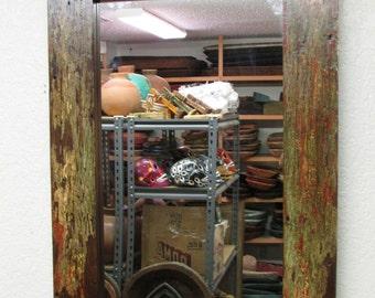 Reclaimed Rustic Mirror -Mexican-25x37 in-Western-Repurposed-Primitive-Western-Vintage Look