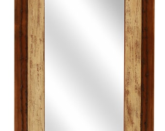 Western Farmhouse Mirror -Mexican-21x35 in-Western-Re-Purposed-Primitive-Western-Vintage Look-Old Door Panels-Shabby White