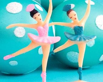 Ballerina Cake Toppers (12), Ballerina Cupcake Topper, Ballerina Party Favors, Vintage Style Ballerinas in Pink & Blue Tutus