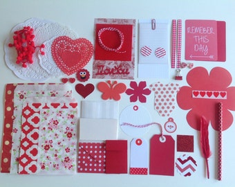 Inspiration pack, DIY kit, gift wrapping kit, red and white kit